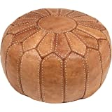 ESSENCE OF MOROCCO Natural Tan Moroccan Pouffe Pouf Footrest Footstool Ottoman Cover Real Leather Handmade Hand-stitched