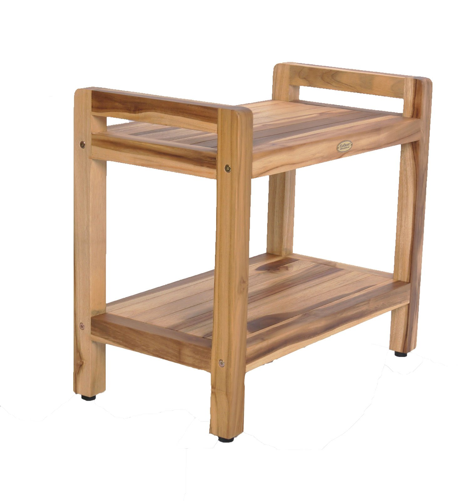 24'' EcoDecors EarthyTeak™ Teak Shower Bench with Shelf and Ergonomic Lift Aid Arms by EcoDecors