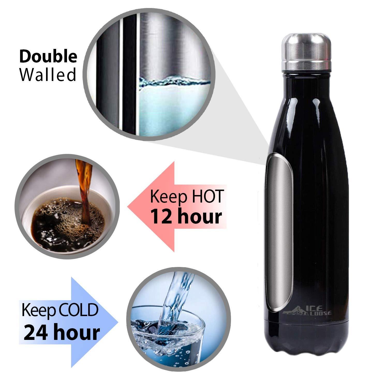 Thermos Senza BPA Borraccia Ideale per Sport Palestra Scuola Yoga Campeggio Ice Loose Bottiglia Acqua Termica in Acciaio Inox A Doppia Parete 500 Milliliter