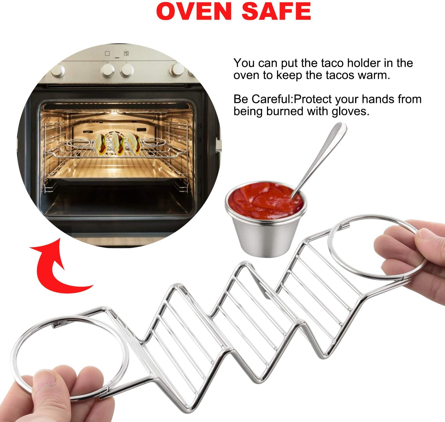Taco Holder 2 Pack Taco Stand Stainless Steel Taco Rack Wave Shaped Taco Tray Holds 3 Hard or Soft Shells Serving with 4 Salad Cups /& 2 Little Spoons Thick Metal Safe For Dishwasher And Oven