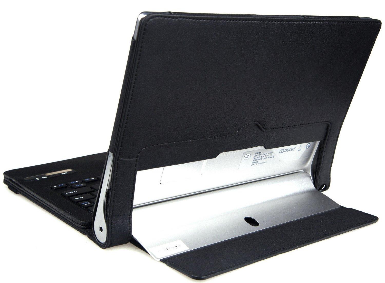 IVSO Funda de Cuero con Teclado Bluetooth para Lenovo YOGA 2 8-Inch Tablet - con Removable Keyboard (Negro)