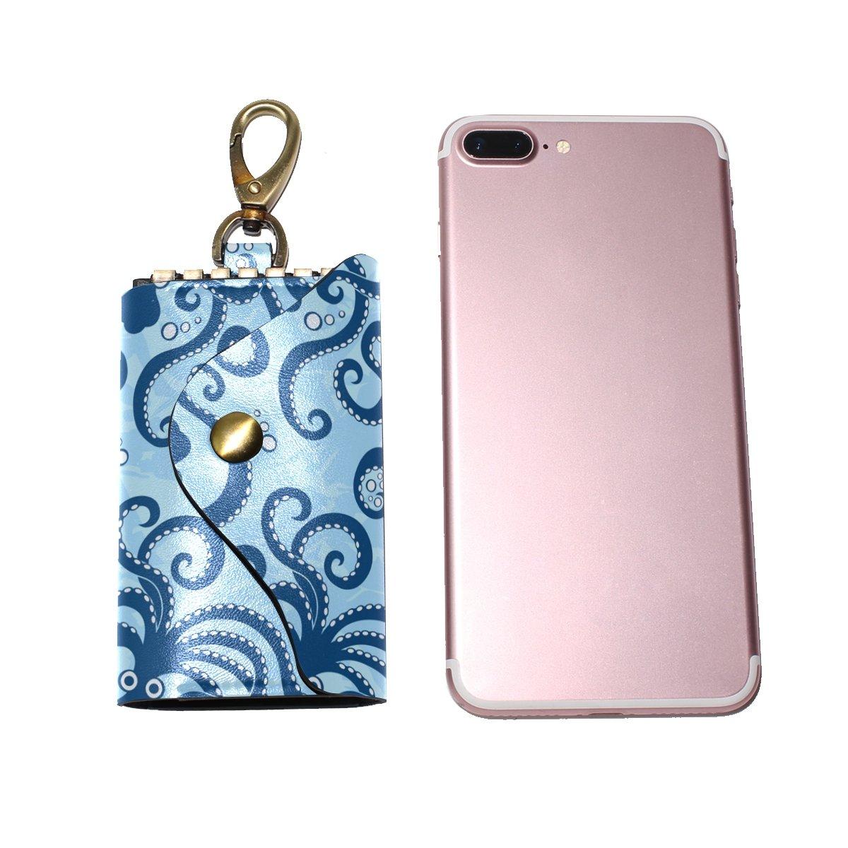 DEYYA Blue Sea Octopus Anima Leather Key Case Wallets Unisex Keychain Key Holder with 6 Hooks Snap Closure