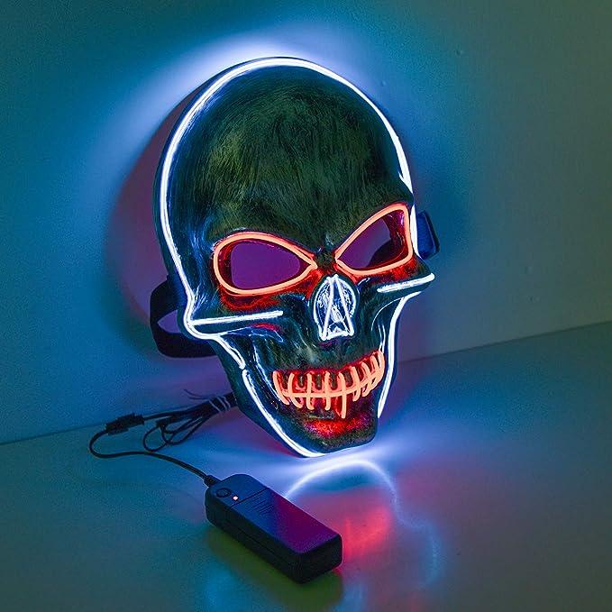 Máscara de luz led calavera halloween neón