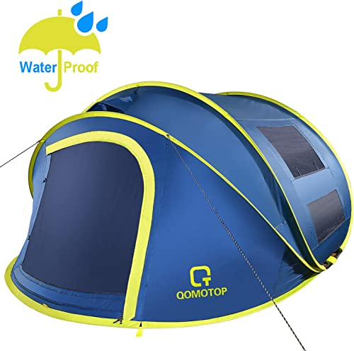 OT QOMOTOP Pop up Tent 4 Person, 9.5 7 with 50 Central Hight, 10 Second Setup Tent, Waterproof Tent, 4 Ventilated Mesh Windows, 2 Mesh Doors, Instant Camping Tent for Family
