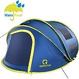 "OT QOMOTOP 4 Person Pop up Tent, 9.5'×7' with 50"" Center Height, 10 Second Setup Tent, Waterproof Tent, 4 Ventilated Mesh Windows, 2 Mesh Doors, Instant Camping Tent"
