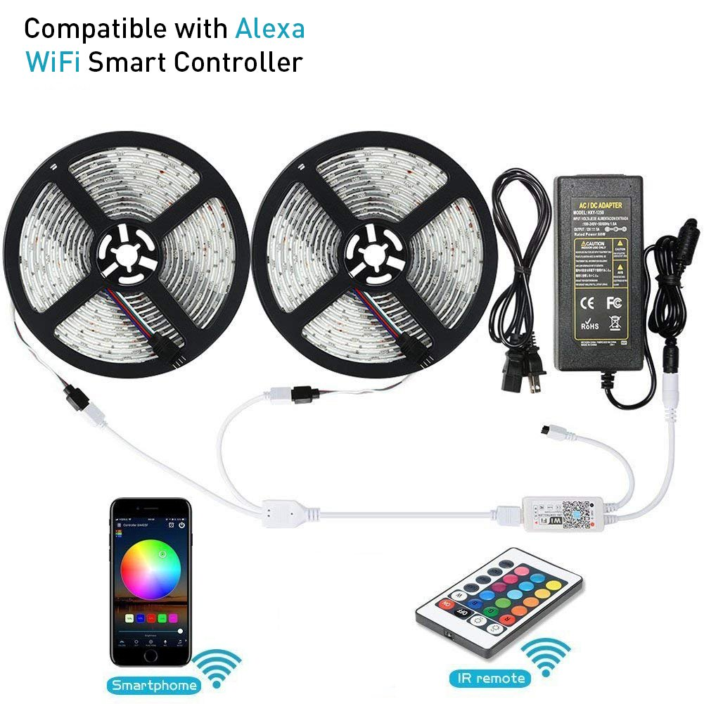 LED Strip Lights, LUNSY Wifi Wireless Smart Phone(Android/IOS) Controlled Light Strip Kit 5050 32.8ft/10M 300 Leds, Rope Lights, Ribbon Lights Controlled by Alexa, IP65 Waterproof (2 pack)