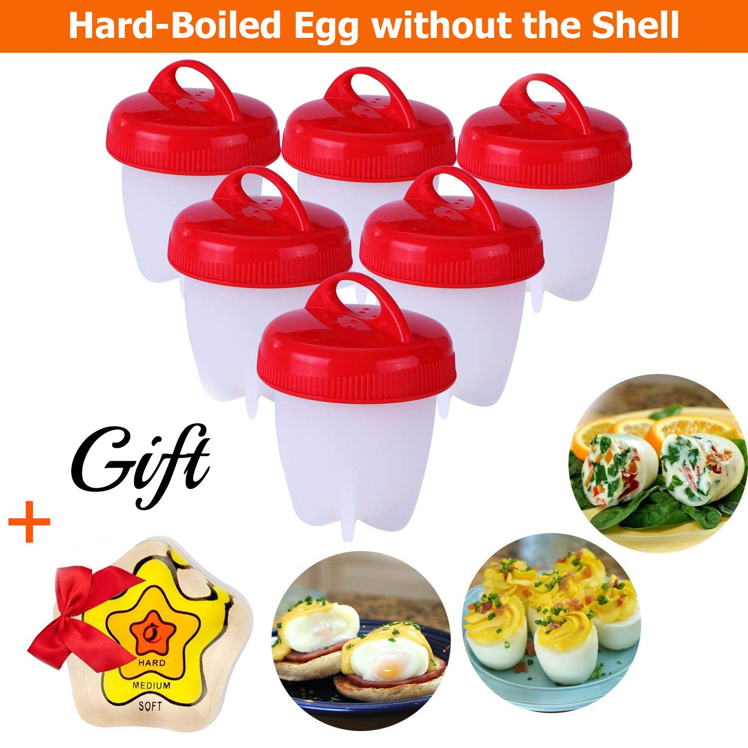 Silicone Egg Cooker - Hard Boiled Eggs Without The Shell, Non Stick Silicone Poacher, Hard Boiled Egg Maker, Egg Boiler, No Shell, 6 Pack & New Color Changing Egg Timer LOOXOS