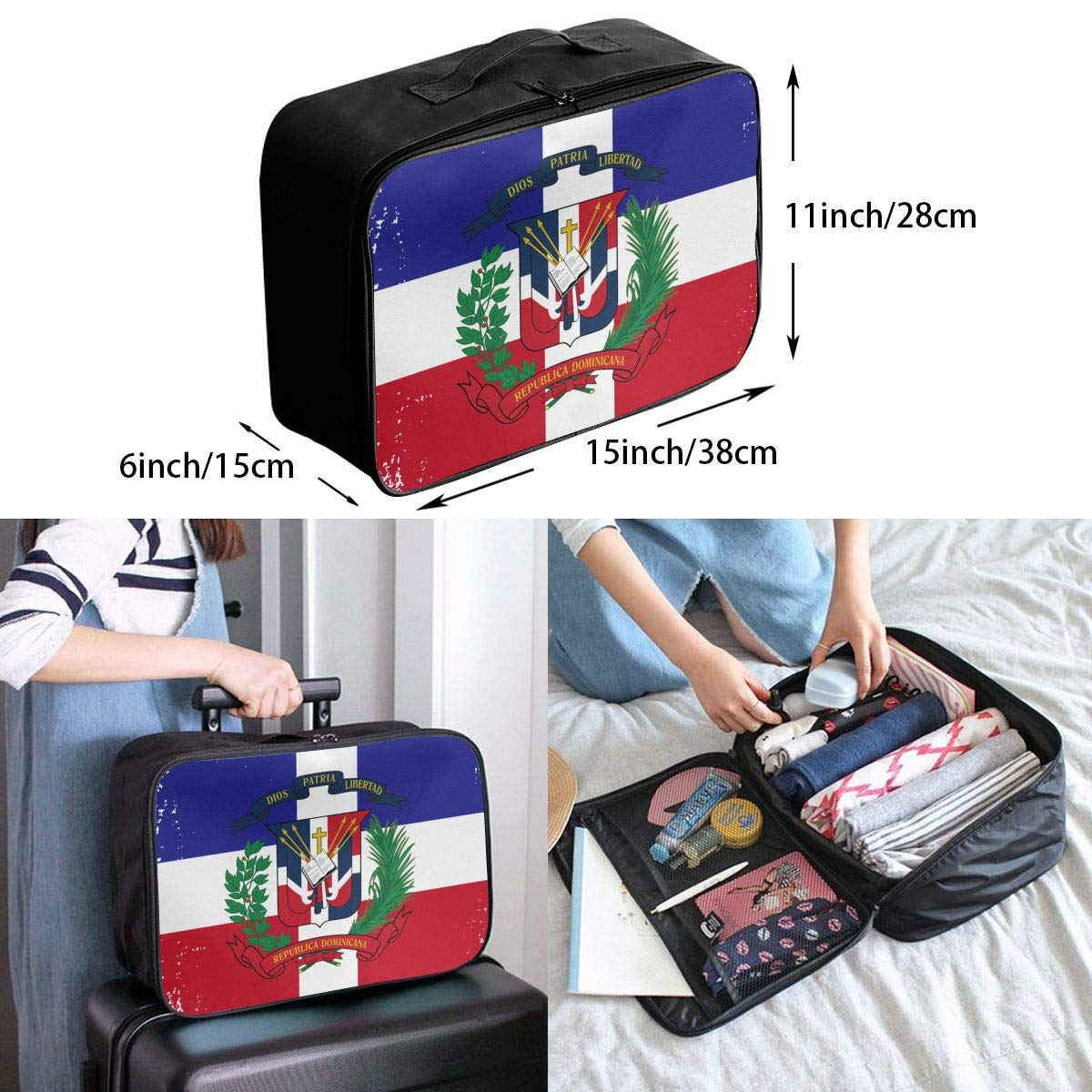 YueLJB Dominican Flag Grunge Lightweight Large Capacity Portable Luggage Bag Travel Duffel Bag Storage Carry Luggage Duffle Tote Bag