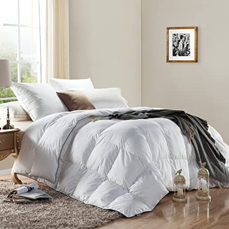 WENERSI Premium Down Comforter Twin Size,Duvet Insert 600TC   100% Cotton  Cover With