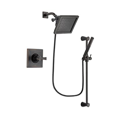 Delta Rain Shower Head With Handheld.Delta Dryden Venetian Bronze Finish Shower Faucet System Package With 6 5 Inch Square Rain Showerhead And Modern Hand Shower With Slide Bar Includes
