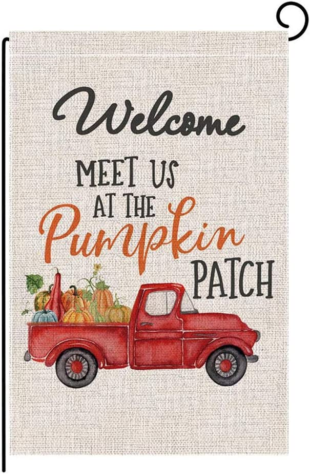Studio 21 Graphix Welcome Fall Garden Flag Thanksgiving Day Flag Vertical Double Sided Autumn Pumpkin Truck Burlap Flag for House Yard Decoration Outdoor Decor 12.5 x 18 Inch