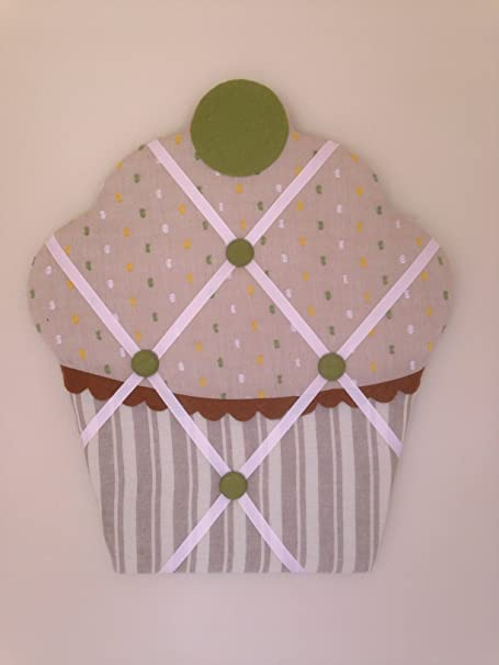 Green Highlights And Buttons On Fawn And Cream Striped Fabric Padded Mesmerizing Padded Memo Board