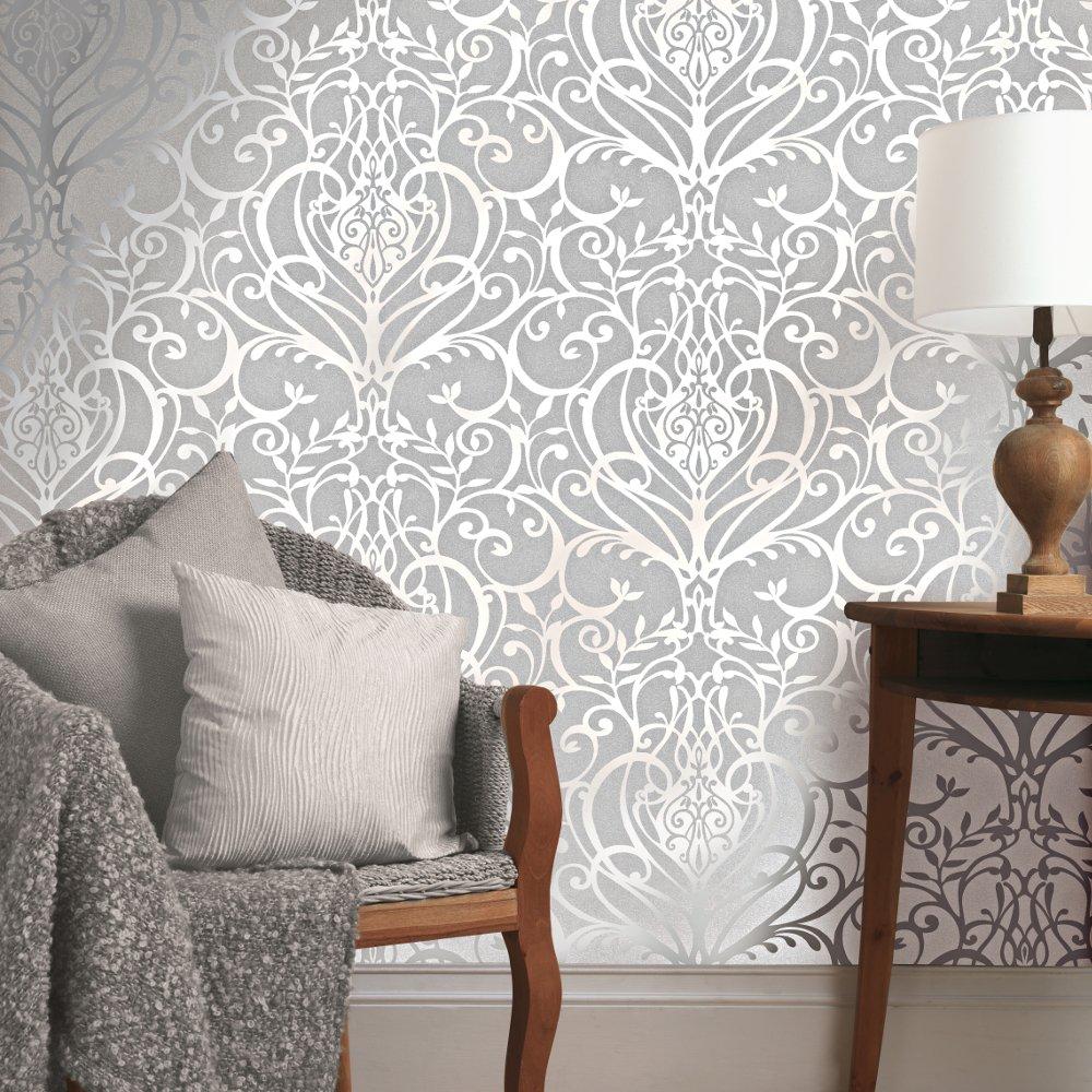 Exclusive Holden Statement Floral Damask Pattern Metallic Textured ...