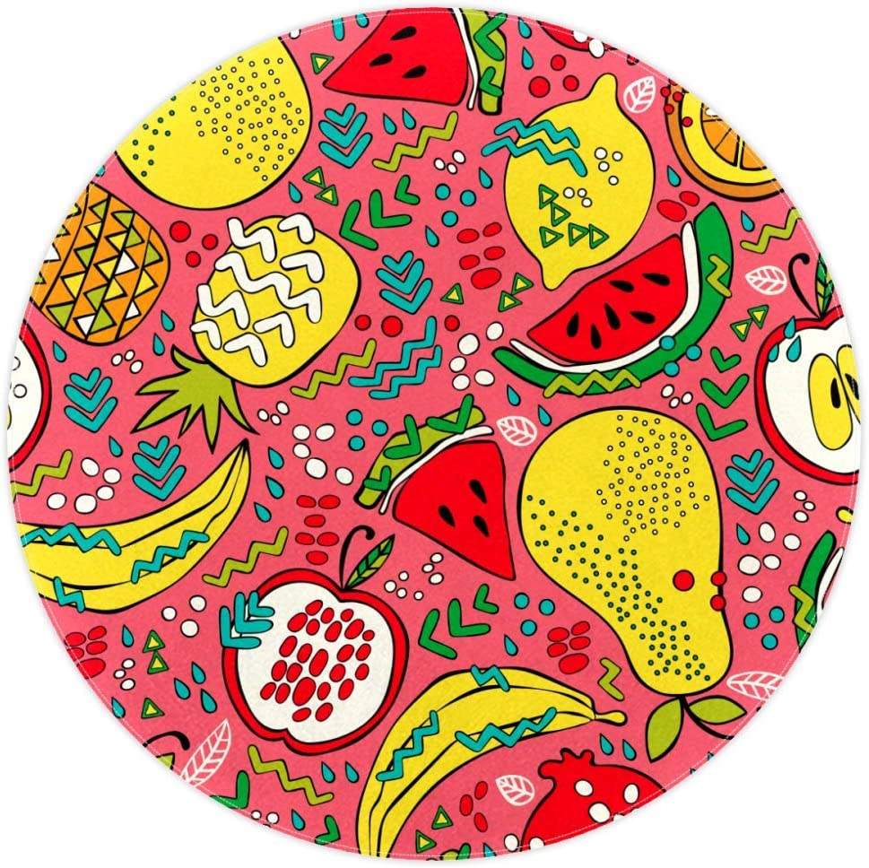 Summer Fruits Watermelon Kiwi Apple Lemon Pineapple Pattern Round Rug Non-Slip Backing Machine Washable Round Area Rug Doormat Living Room Bedroom Children Playroom Carpet Floor Mat 5.2-Feet Diameter