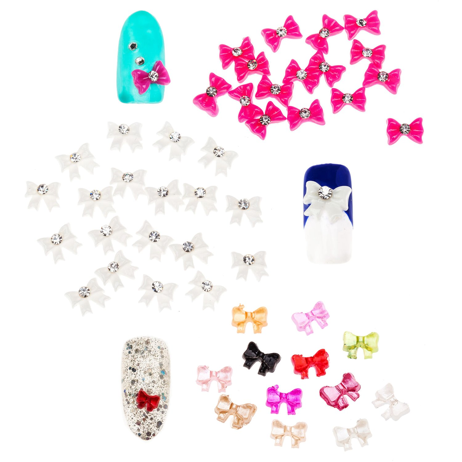 Manicure Nail Art 3D Decorations Set Kit of Bow Ties In Different Colours And Designs With Rhinestones Gems Crystals Jewels By VAGA®