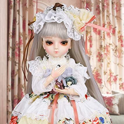 1//4 BJD Doll Jointed Doll For Baby Girl with BJD Clothes Toddler Wig Makeup Eyes