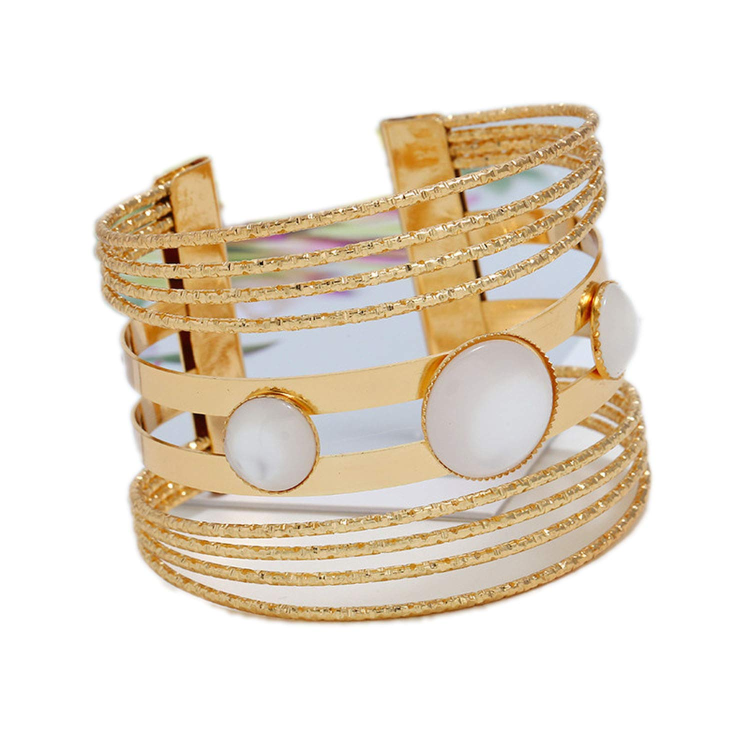 xiaoxiaoland Metal Bangles Women Resin Mosaic Crystal Bracelet Smooth Wide Opening Adjustable Bangle