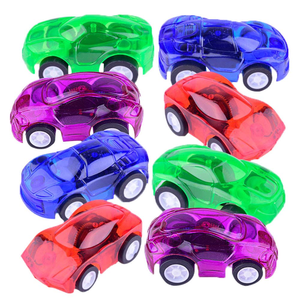 WeiYun Dazzling Toys Mini Pull Back and Let Go Racer Cars - Assorted Car Colors - Perfect Easter Egg Filler for Kids Gifts(4-Pack)