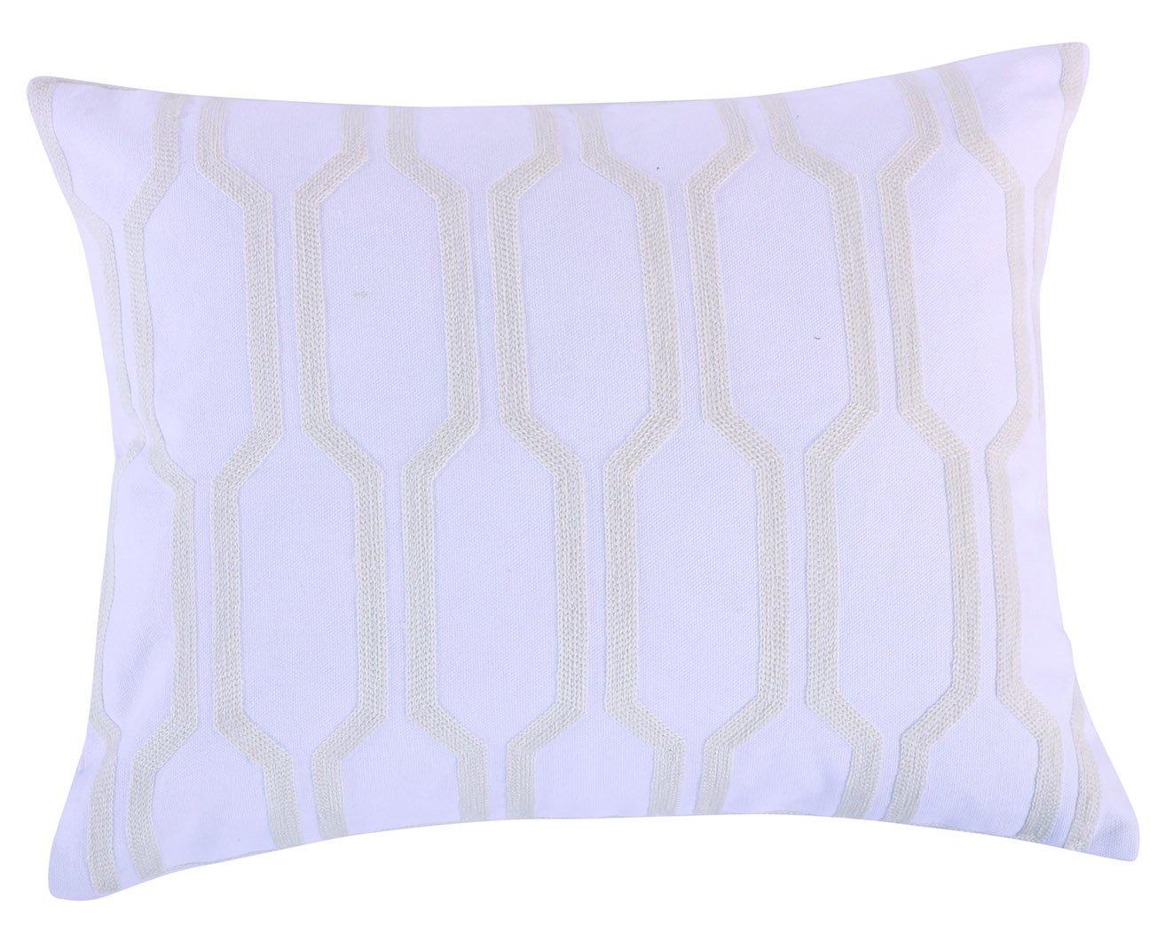 Levtex Spruce Spa Crewel Pillow, White