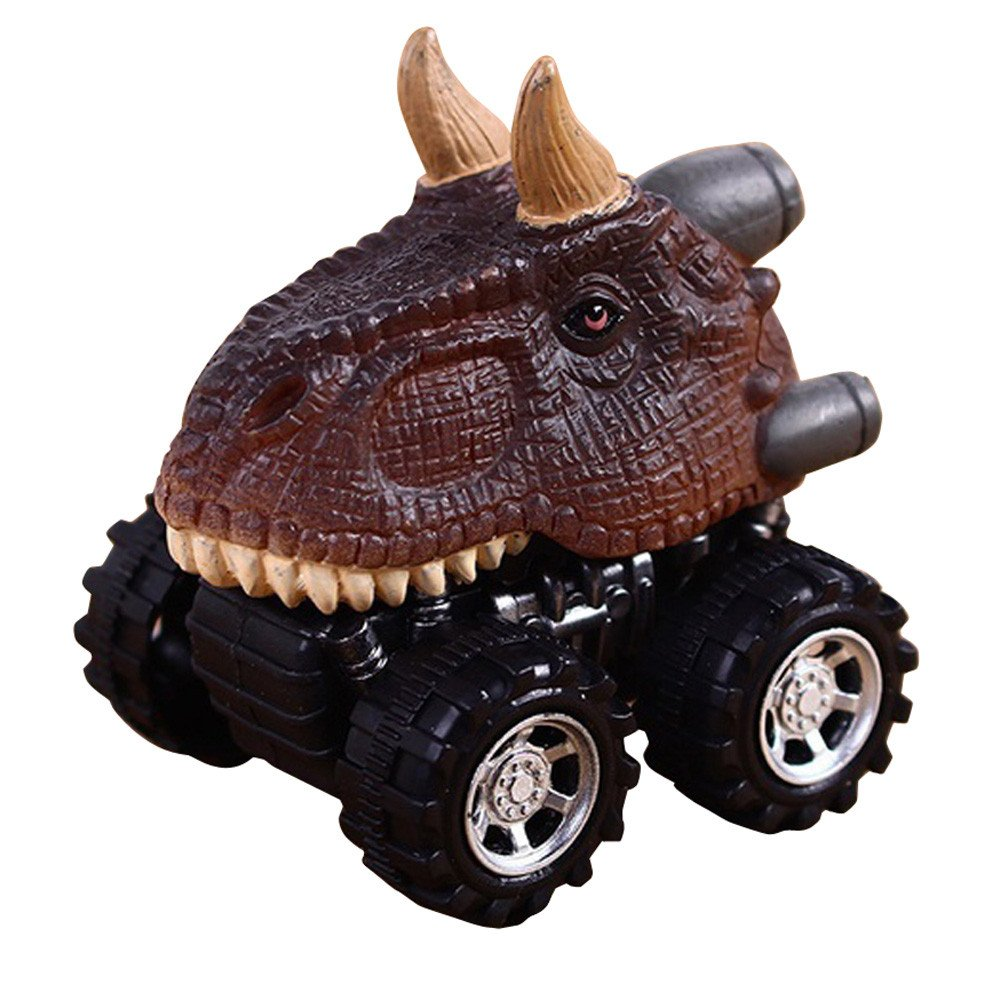 wuayi Dinosaur Model Mini Play Vehicles Pull Back Car Gift Toys for 2 Years Old Boys (A)