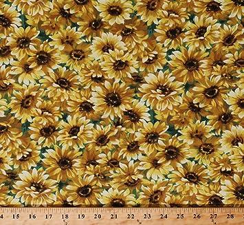 Amazon cotton sunflowers floral blossoms blooms botanical cotton sunflowers floral blossoms blooms botanical garden nature golden yellow flowers on green little sunflower cotton mightylinksfo