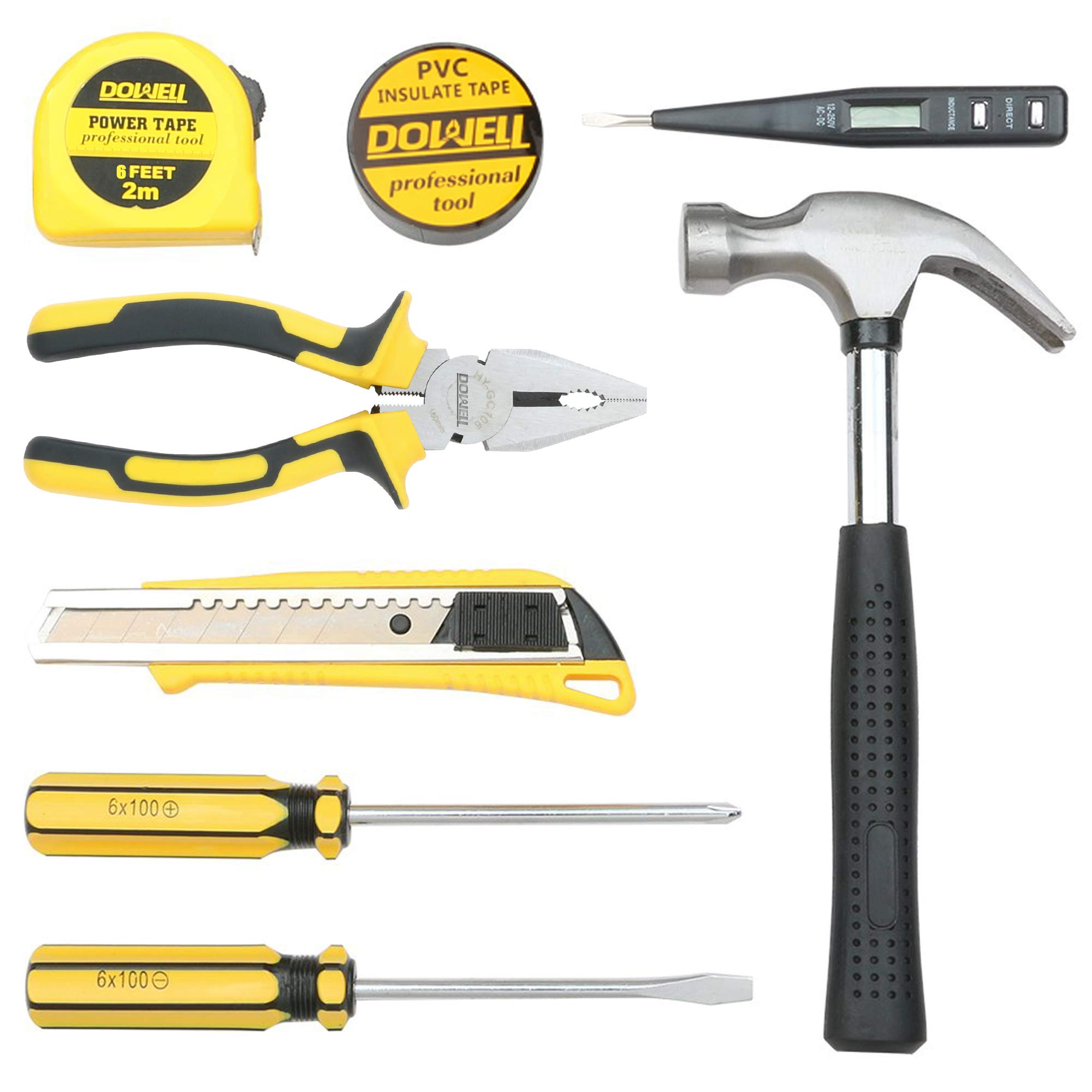 9 Pieces General Household Small Hand Tool Kit DOWELL Small Homeowner Tool Set