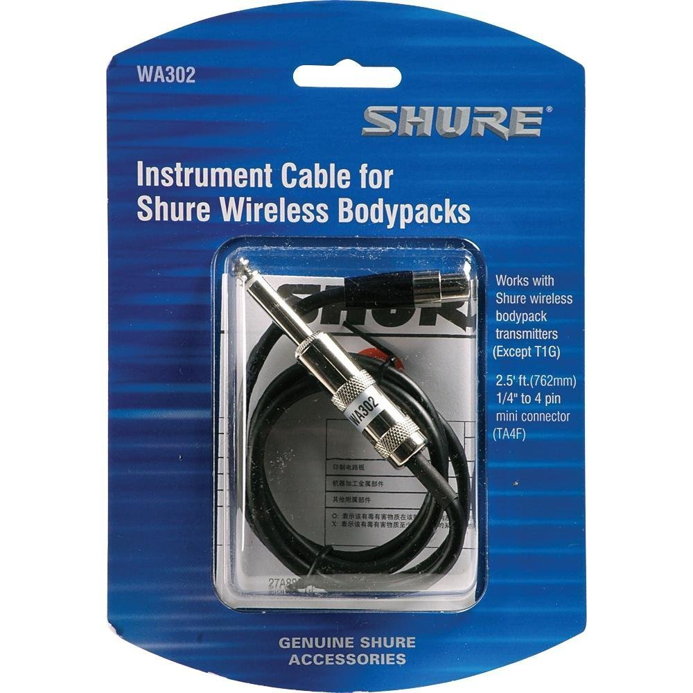 Shure Wa302 25 Feet Instrument Cable 4 Pin Mini Wiring For 1 Microphone Jack Connector Ta4f To Inch Musical Instruments