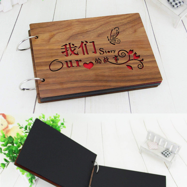 Photo Album Black Cardboard Wood Creative Handmade Loose-Leaf Scrapbook Albums 8 Inch Commemorative Baby Photo Album Wedding Photo Album,03 by Spring-color-photo album (Image #4)