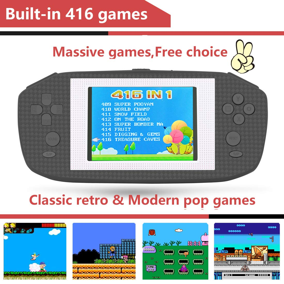 Beico Handheld Games for Kids Adults 3.5'' Large Screen Built in 416 Classic Retro Video Games Seniors Electronic Games Consoles Birthday Present (Black) by Beico (Image #2)