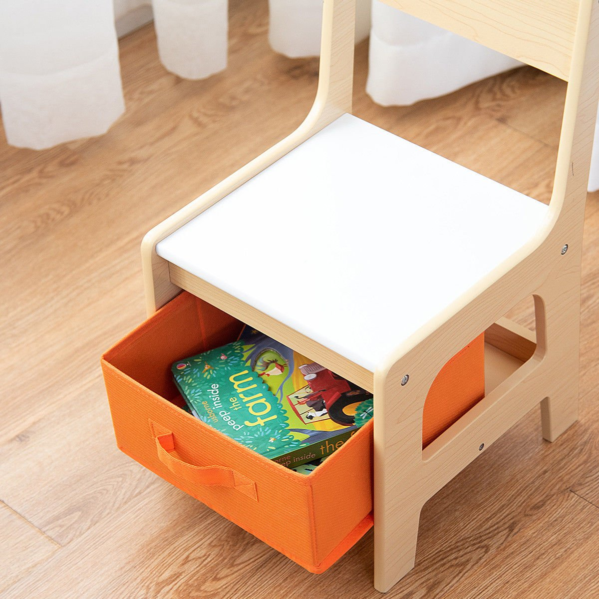 Costzon Kids Table and 2 Chairs Set, 3 in 1 Wooden Table Furniture for Toddlers Drawing, Reading, Train, Art Playroom, Activity Table Desk Sets (Convertible Set with Storage Space) by Costzon (Image #6)