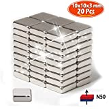 N50 Magneti da Frigo a Neodimio (20 pz)  10x10 x 5mm,   Rari Magnetici della Terra per Artigianato Creativo e l'Organizzazione dell'Ufficio