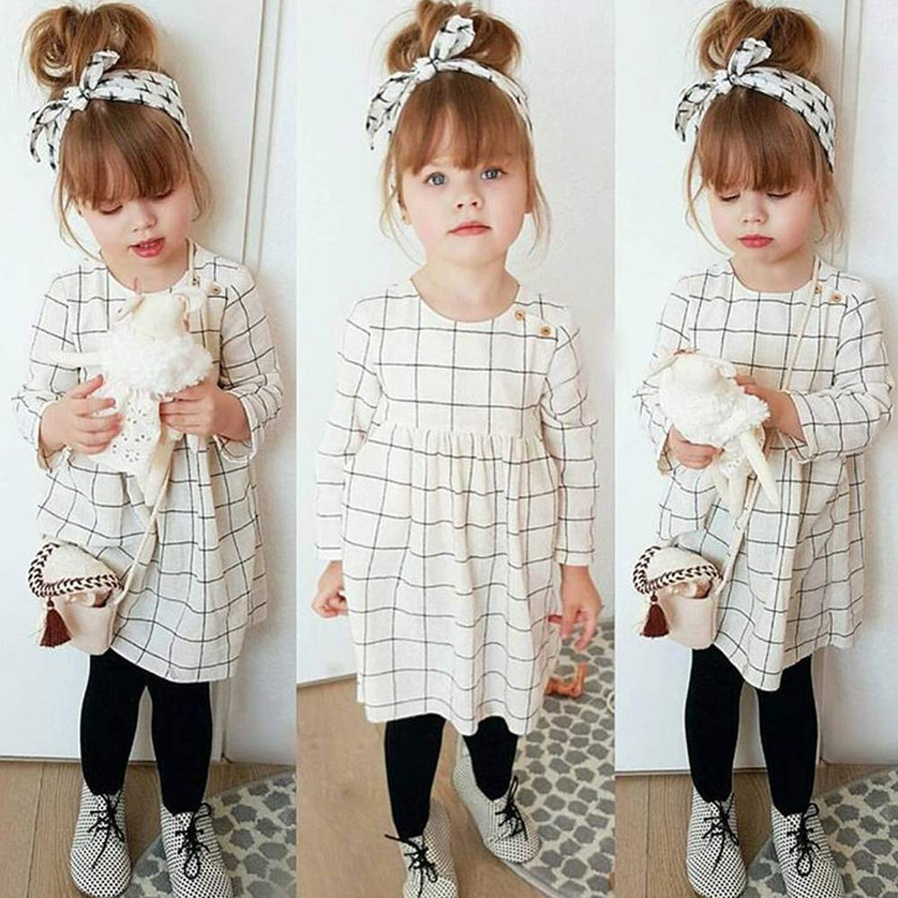 Opeof 2Pcs Fashion Kids Girls Grid Long Sleeve Dress Bowknot Headband Clothing Suit