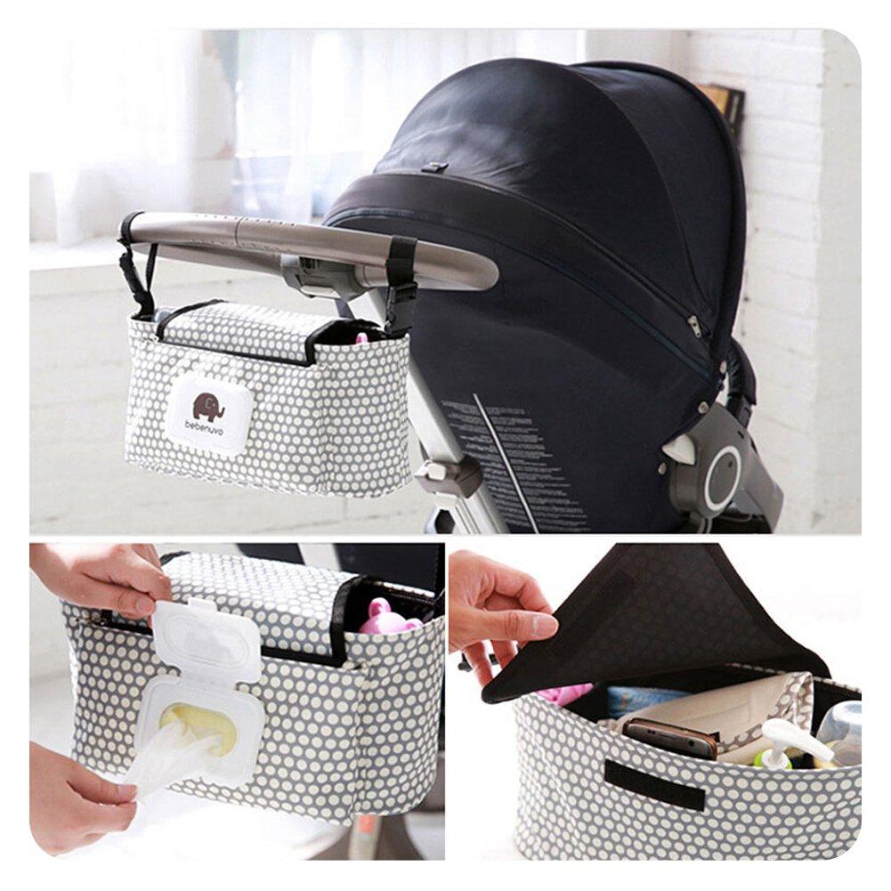 HaloVa Stroller Organizer, Baby Stroller Pram Organizer Bag, Premium Quality Diaper Bag, Hanging Storage Bag Fits All Strollers, Extra-Large Storage Space, White Dot