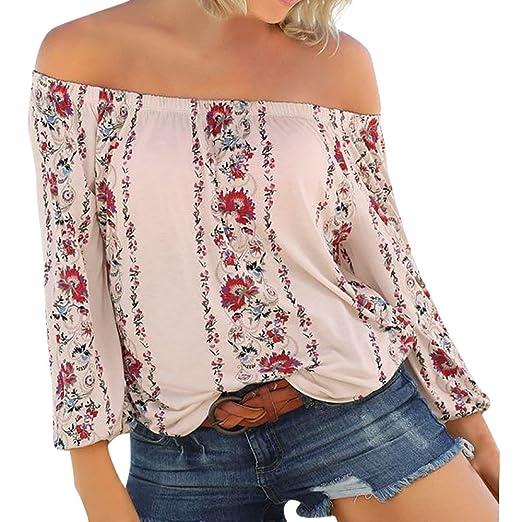 0afca1cbf68 XUANOU Women Floral Print One-Shoulder Long Sleeve Top Ladies Off Shoulder  Tops Blouse Shirt Loose Vintage Tunic T-Shirt at Amazon Women s Clothing  store