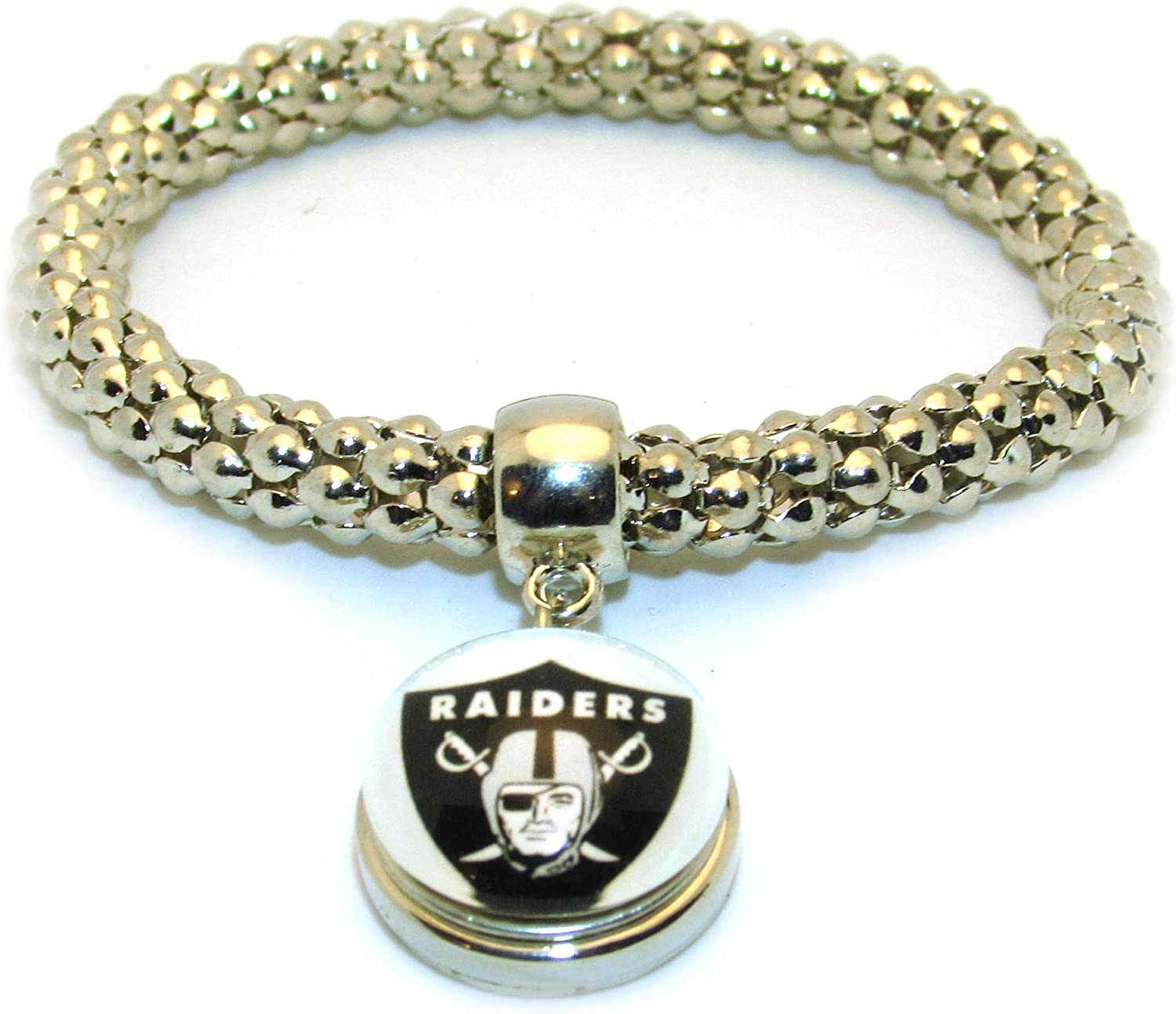 Swamp Fox Oakland Raiders Elastic Adjustable Bracelet wth Team Pendant 7 to 9 inches