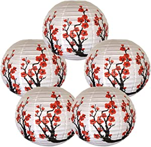 Just Artifacts Set of 5 Red Sakura (Cherry) Flowers White Color Chinese/Japanese Paper Lantern/Lamp 16-Inch Diameter - Just Artifacts Brand