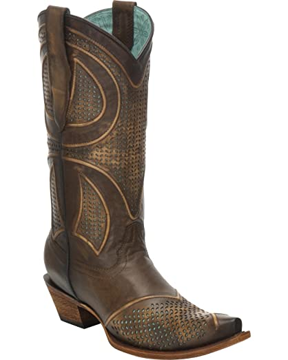 Women's Distressed Cognac Laser-Cut Cowgirl Boot Snip Toe - G1311