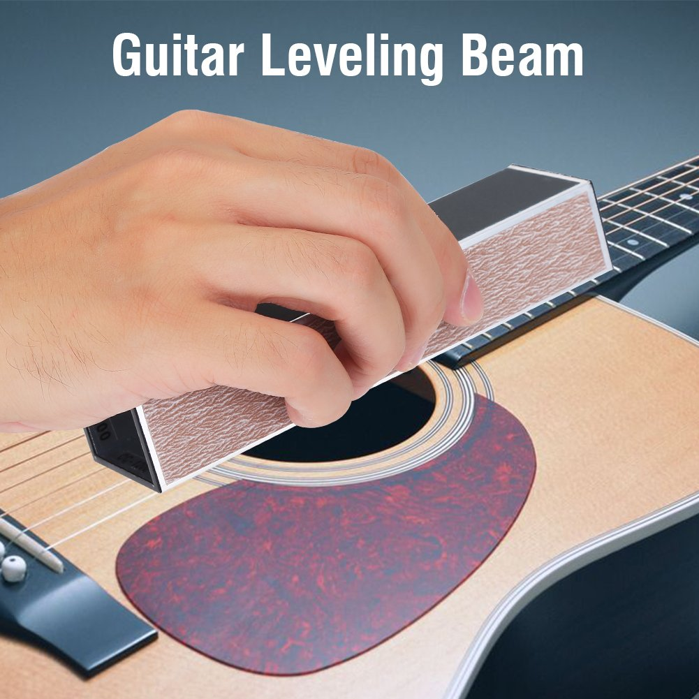 Alomejor Fret Leveling File Beam, Self-adhesive Sandpaper Luthier Fixing Tool for Guitar Bass