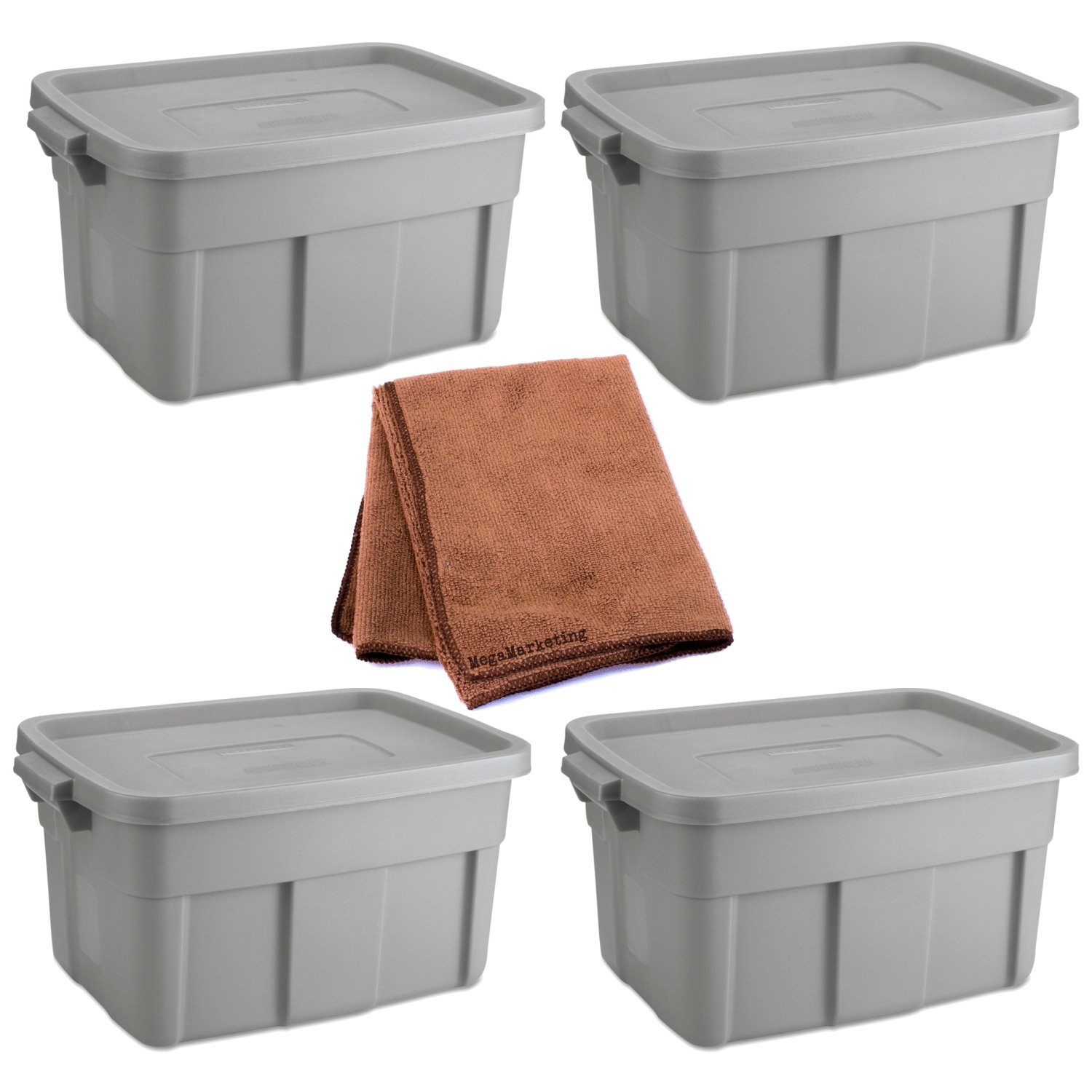 Rubbermaid 14-Gallon Roughneck Storage Box Tote, Steel Gray, Case of 4 with Cleaning Cloth