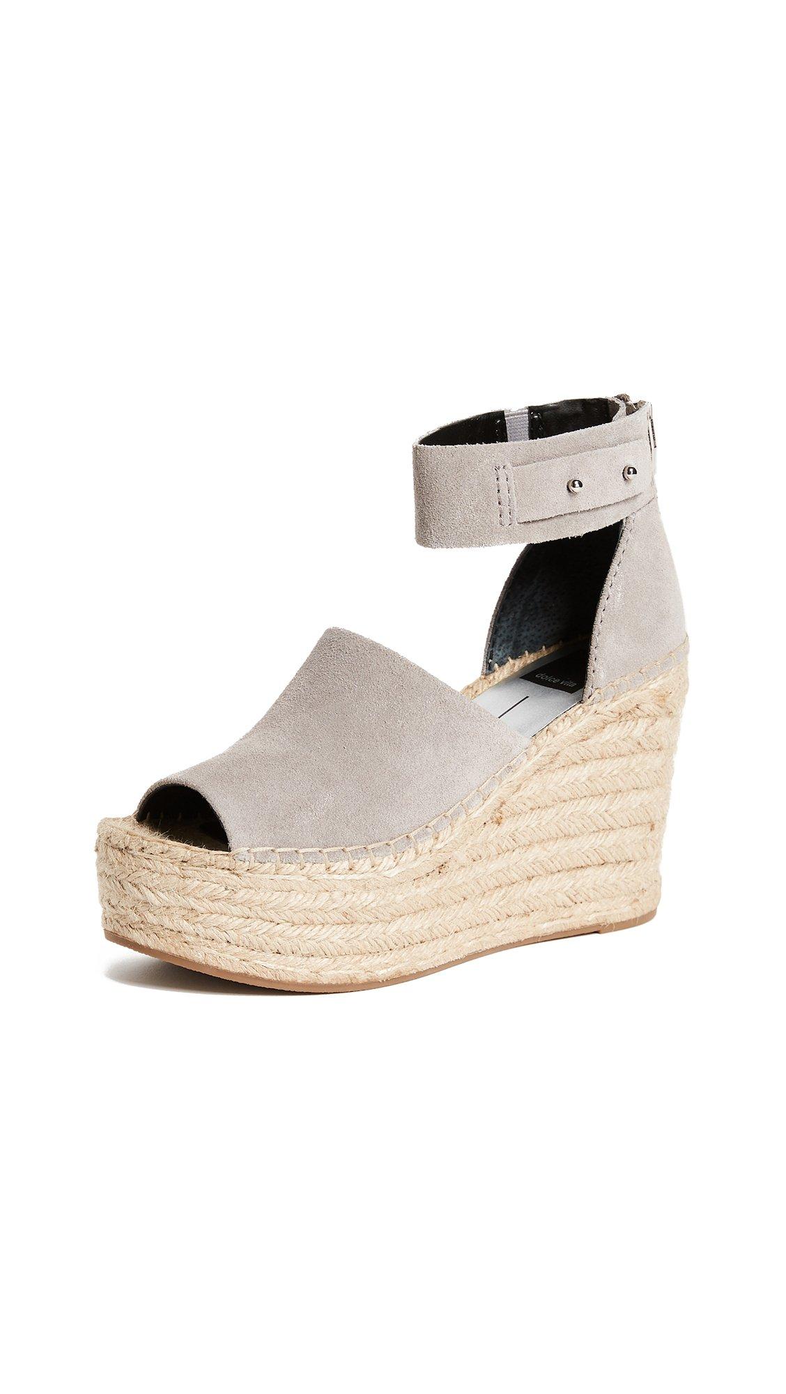 Dolce Vita Women's Straw Wedge Sandal, Smoke Suede, 9 Medium US