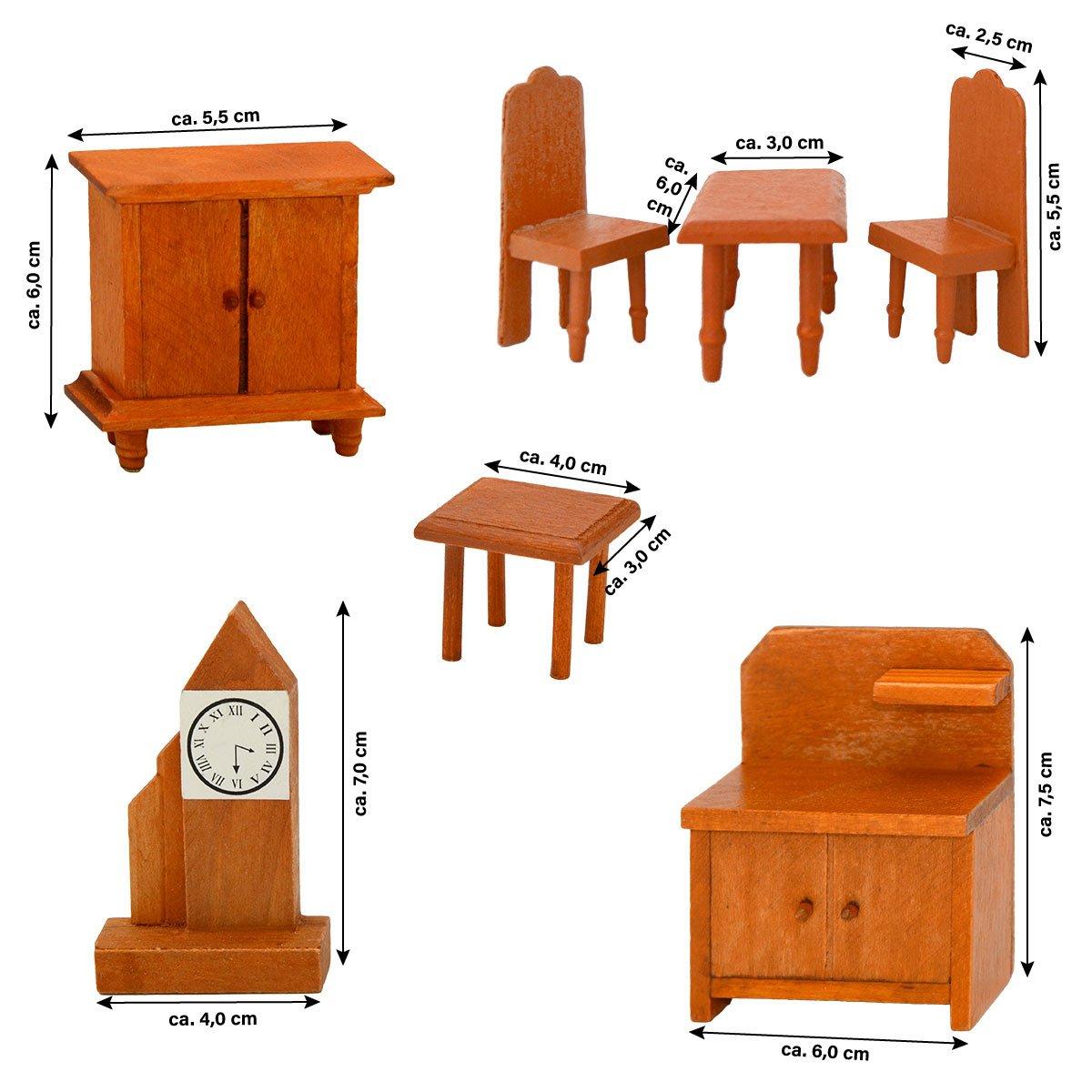 Eyepower decoraci/ón para Dormitorio Casa de Mu/ñecas 7 Muebles en Miniatura Madera