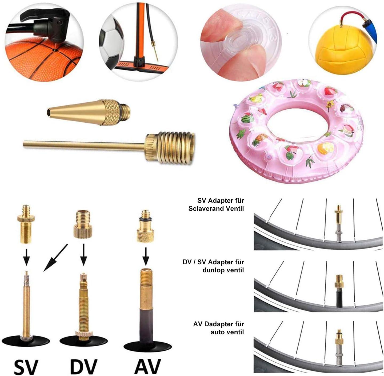 Maxee 30 pi/èces Adaptateur de valve de v/élo ensemble dadaptateur de valve dadaptateur de v/élo AV DV SV