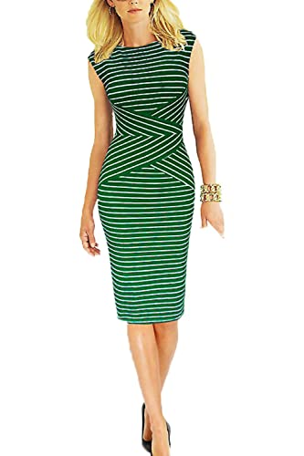 Babyonline Women's Summer Striped Sleeveless Wear to Work Casual Party Pencil Dress