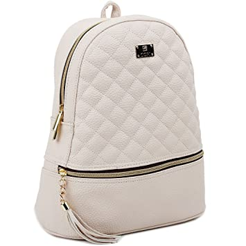 5977cf810c5f Copi Women's Simple Design Fashion Quilted Casual Backpacks Ivory