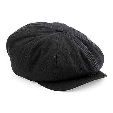 Mens Retro Style Black Baker Boy Hat Newsboy Gatsby Country Flat Cap (S M 1a1c7c7b324