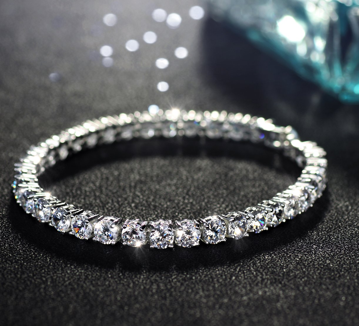 Neoglory Jewelry S925 Silver White Round-Cut Cubic Zirconia Classic Tennis Bracelet 7.7Inch by Neoglory (Image #5)