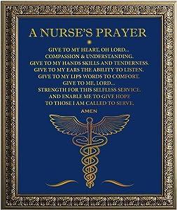 A Nurse's Prayer Inspiring Quote Gold Foil Wall Art Print - Nursing Gift for Nursing Students RN LPN Nurses - Nurse Gifts for Graduation/Christmas/Birthday - 8 x 10 Unframed
