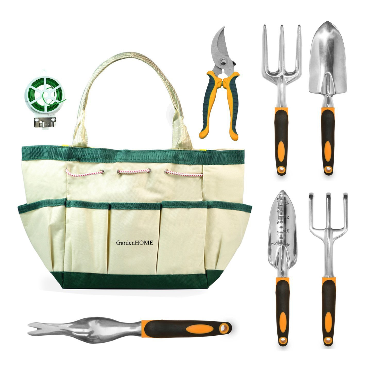 GardenHOME 8 Piece Garden Tool Set - 5 Heavy Duty Cast-Aluminium Tools with Ergonomic Handles, Handy Garden Storage Bag, a Pruner and a Roll of Plant Twist Ties