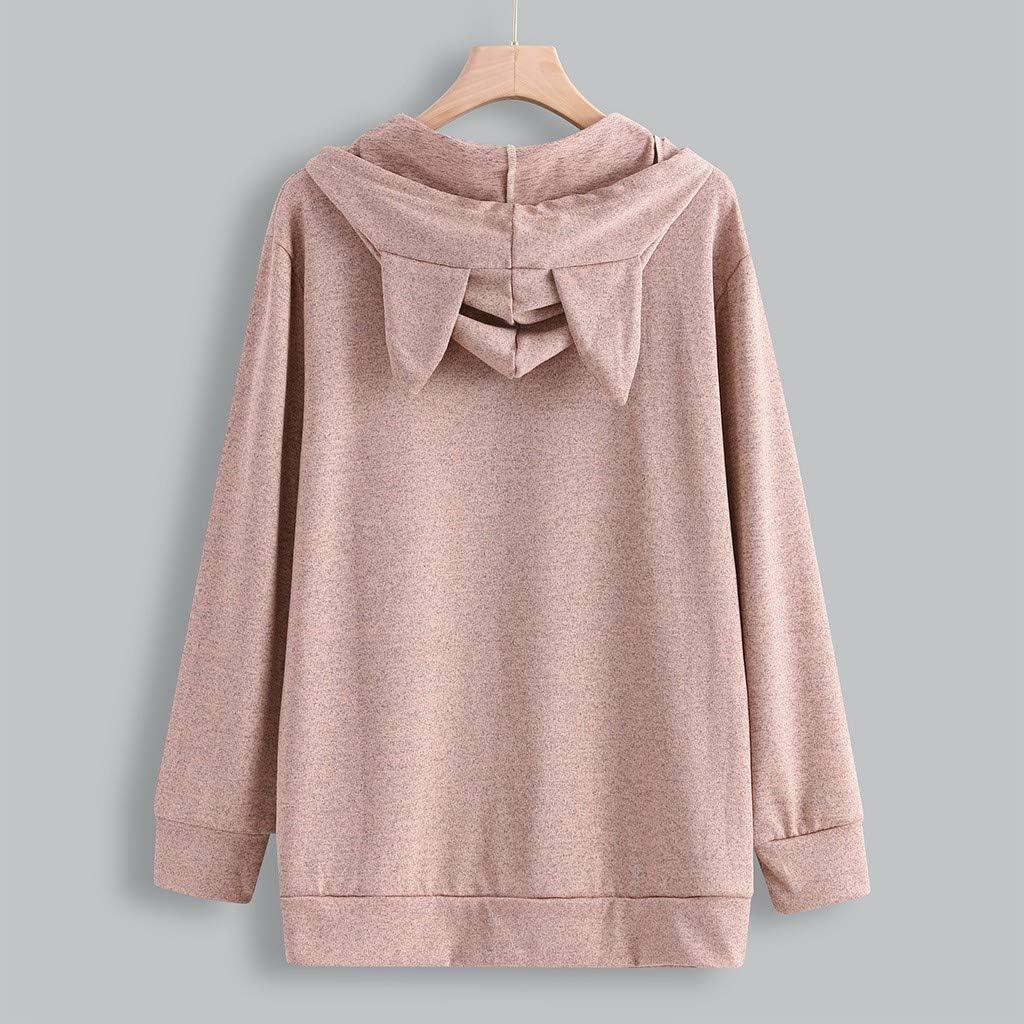 RUIVE Women/'s Cat Ear Hooded Sweatshirt Letter Graphic Print Kangaroo Pockets Drawstring Hoodie Girls Cute Tops Blouse
