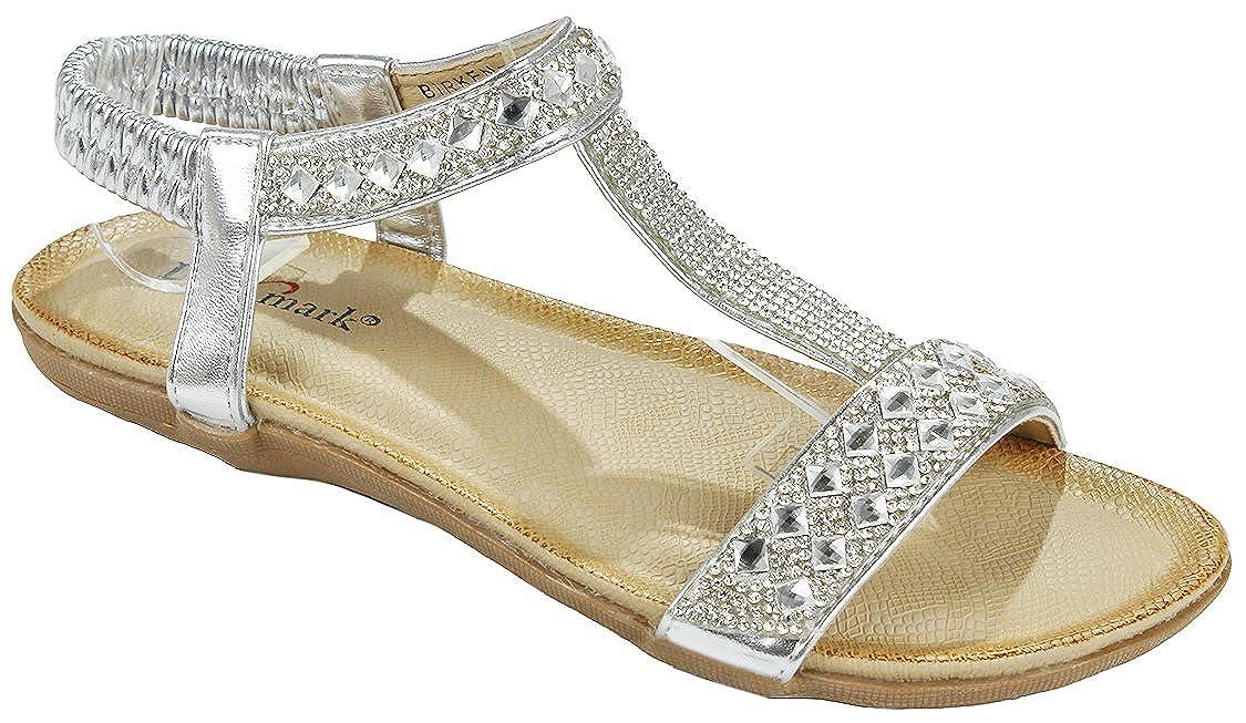 Women Silver T-strap Sparkle Crystal Rhinestone Cushioned Elastic Stretchable Slingback Sandal Shoes B073DMCLJM 6.5 B(M) US